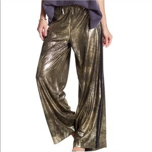 Free People Vegan gold metallic track pants